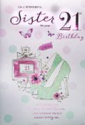 Wonderful Sister 21st Birthday Card
